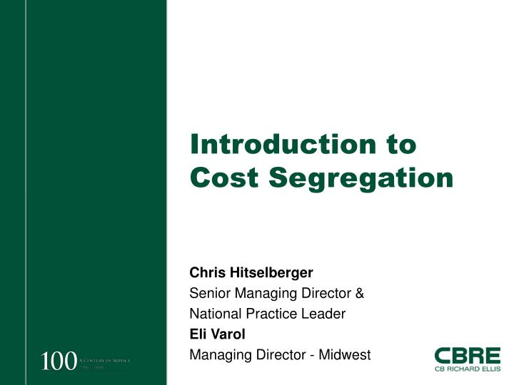 introduction to cost segregation n.