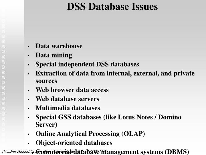 DSS Database Issues