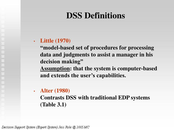 DSS Definitions