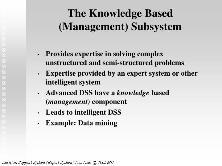 The Knowledge Based (Management) Subsystem