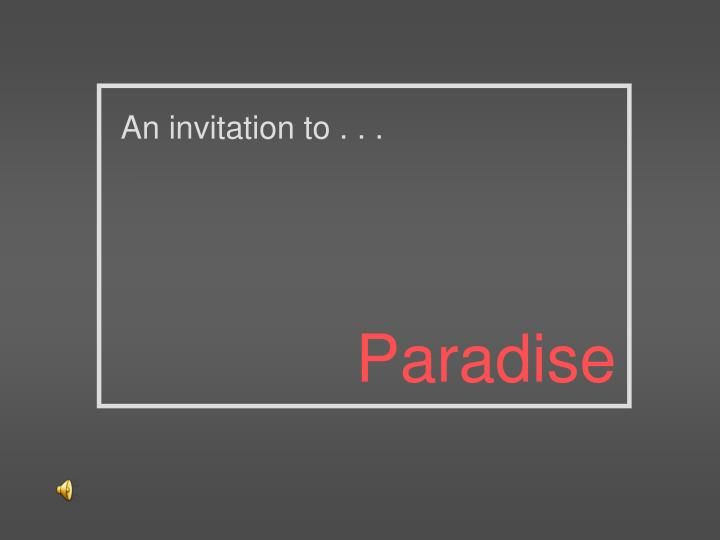 An invitation to