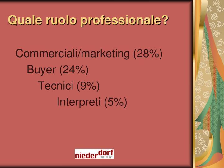 Quale ruolo professionale?