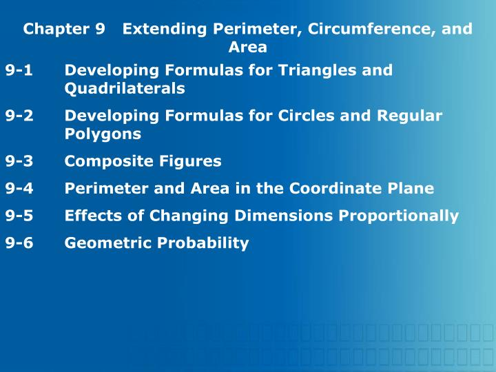 Chapter 9Extending Perimeter, Circumference, and Area