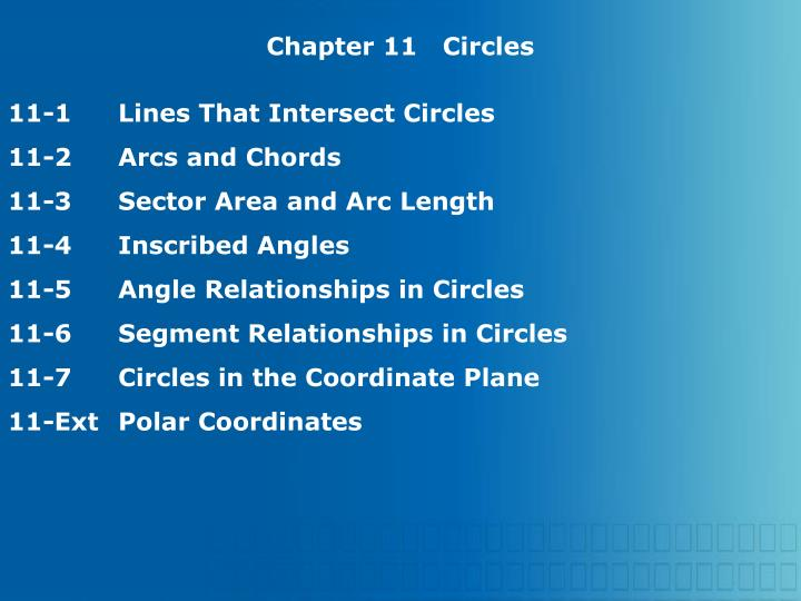 Chapter 11   Circles
