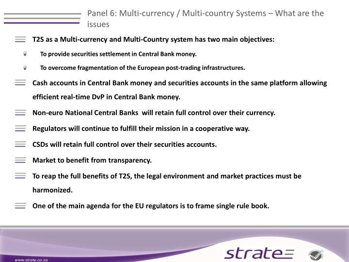 Panel 6: Multi-currency / Multi-country Systems – What are the issues