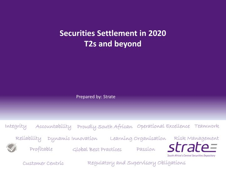 Securities settlement in 2020 t2s and beyond