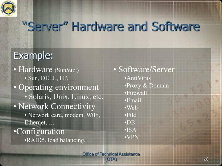 """""""Server"""" Hardware and Software"""