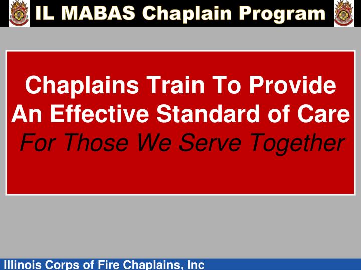 Chaplains Train To Provide An Effective Standard of Care