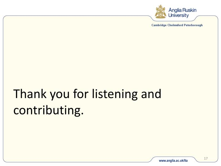 Thank you for listening and contributing.