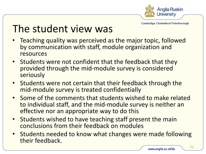 The student view was