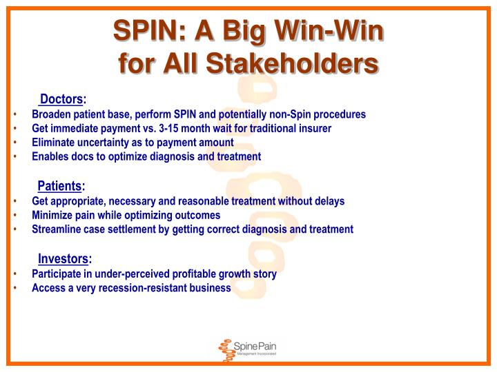 Spin a big win win for all stakeholders