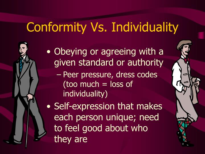 the problems of individuallity and conformity within Many of the problems of personality as well as society are mostly the problems of non-conformity to norms conformity to norms is normal the individual having internalized the norms, feels something like a need to conform.