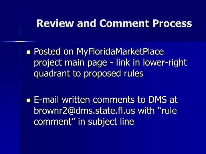 Review and Comment Process
