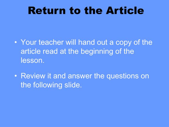 Return to the Article