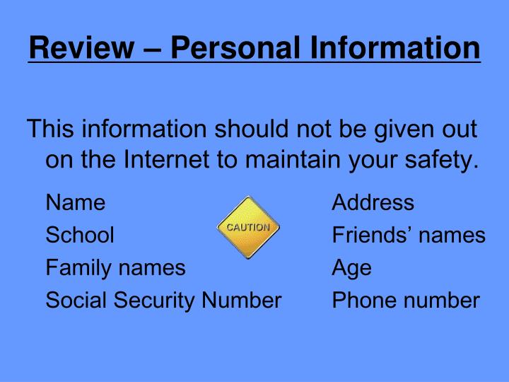 Review – Personal Information