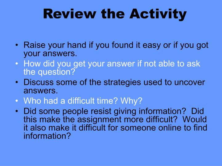 Review the Activity