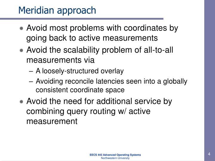 Meridian approach