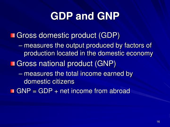 GDP and GNP