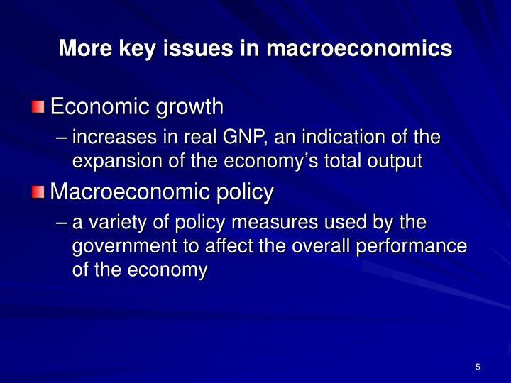 More key issues in macroeconomics