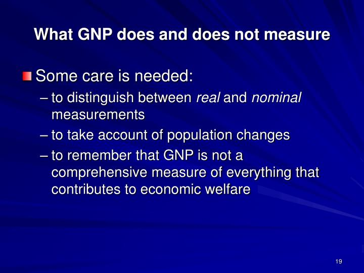 What GNP does and does not measure