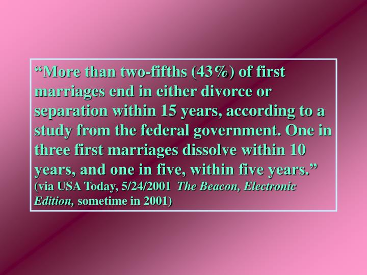 """""""More than two-fifths (43%) of first marriages end in either divorce or separation within 15 years, according to a study from the federal government. One in three first marriages dissolve within 10 years, and one in five, within five years."""""""