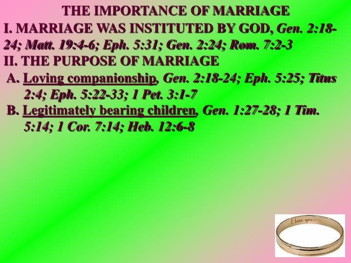 THE IMPORTANCE OF MARRIAGE