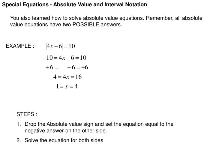 PPT - Special Equations - Absolute Value and Interval Notation ...
