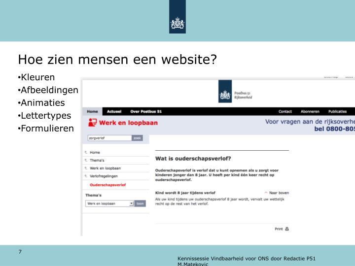 Hoe zien mensen een website?