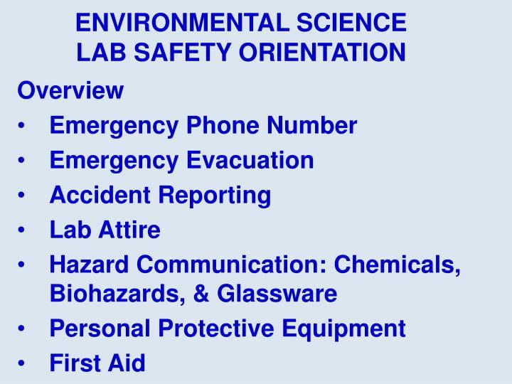Environmental science lab safety orientation