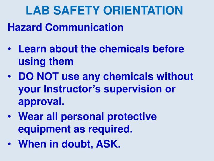LAB SAFETY ORIENTATION