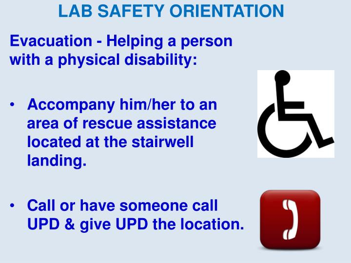 Evacuation - Helping a person with a physical disability: