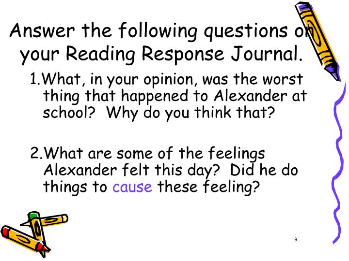 Answer the following questions on your Reading Response Journal.