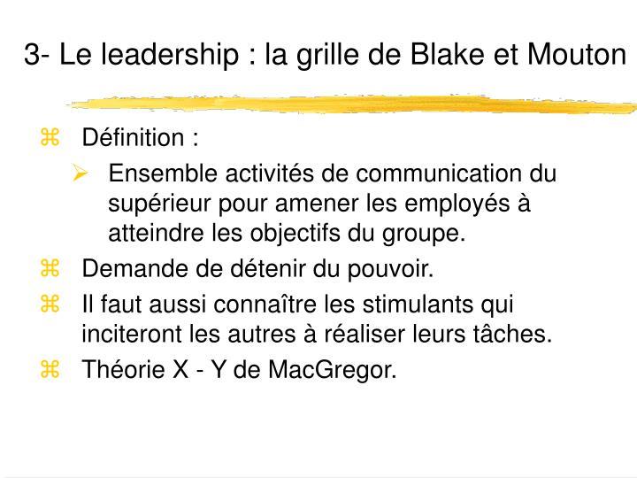 3- Le leadership :
