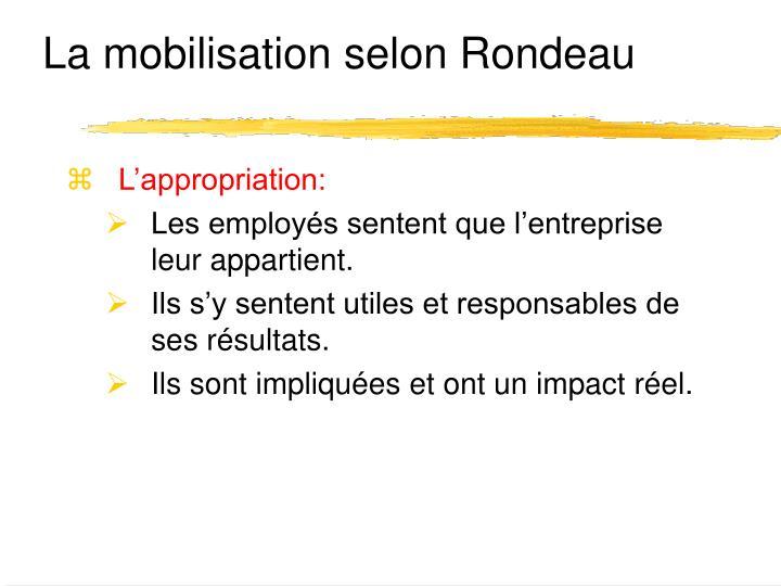 La mobilisation selon Rondeau
