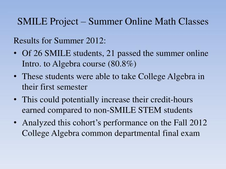 SMILE Project – Summer Online Math Classes