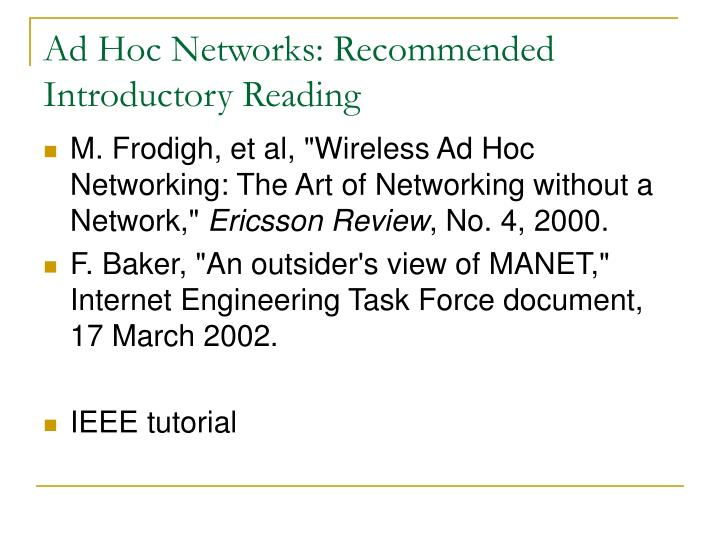 Ad Hoc Networks: Recommended Introductory Reading