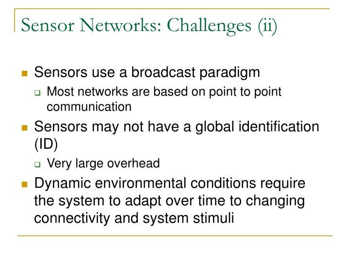 Sensor Networks: Challenges (ii)