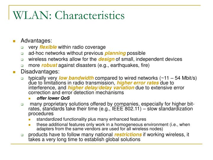 WLAN: Characteristics