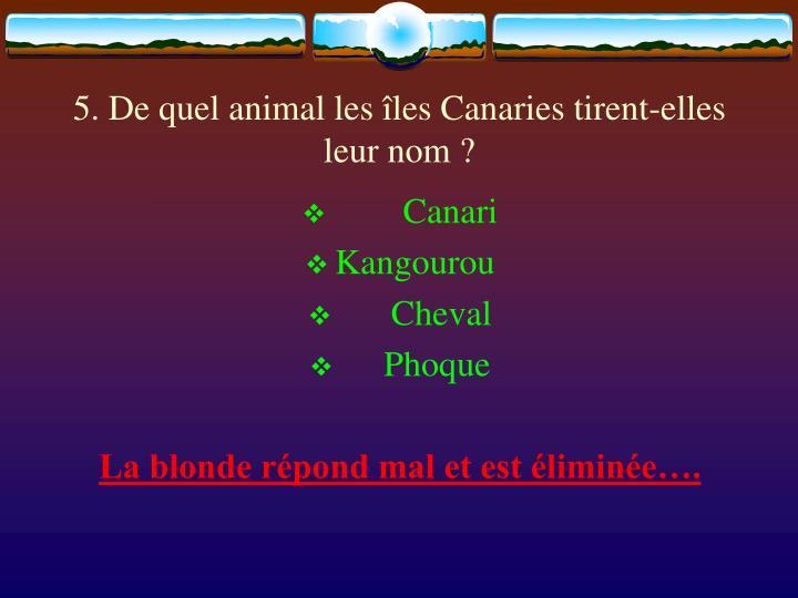 5. De quel animal les îles Canaries tirent-elles