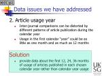 data issues we have addressed1