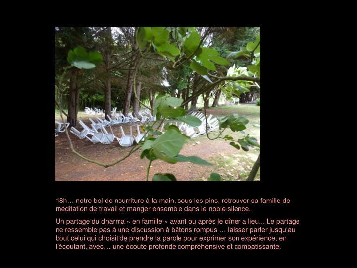 18h… notre bol de nourriture à la main, sous les pins, retrouver sa famille de méditation de travail et manger ensemble dans le noble silence.