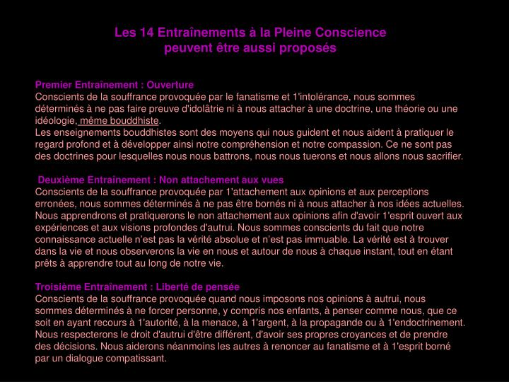 Les 14 Entraînements à la Pleine Conscience