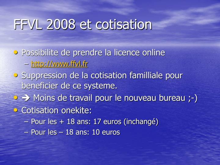 FFVL 2008 et cotisation