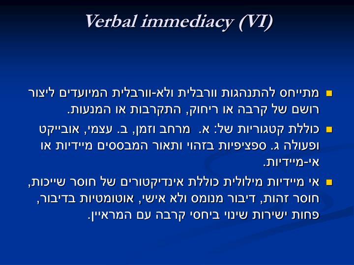 Verbal immediacy (VI)