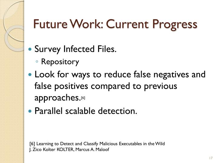 Future Work: Current Progress