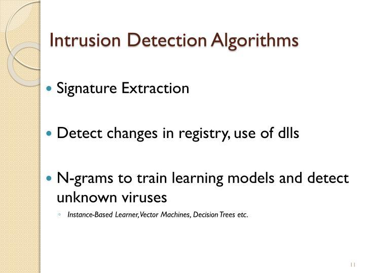 Intrusion Detection Algorithms