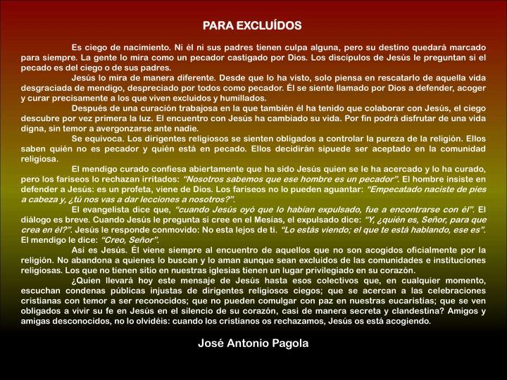 PARA EXCLUÍDOS