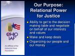 our purpose relational power for justice