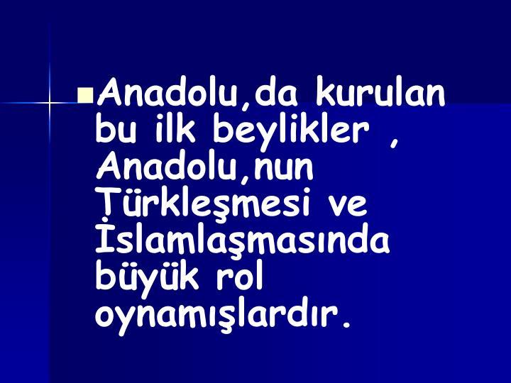 Anadolu,da kurulan bu ilk beylikler , Anadolu,nun Türkleşmesi ve İslamlaşmasında büyük rol oynamışlardır.