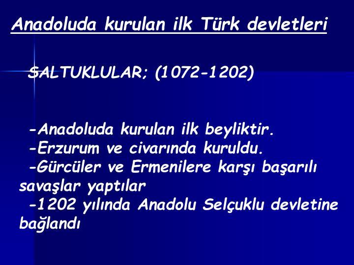 Anadoluda kurulan ilk Türk devletleri